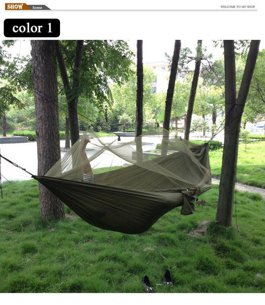 Nice Portable High Strength Parachute Fabric Camping Hammock Hanging Bed With Mosquito Net Sleeping Hammock Camp Sleeping Gear Sports & Entertainment