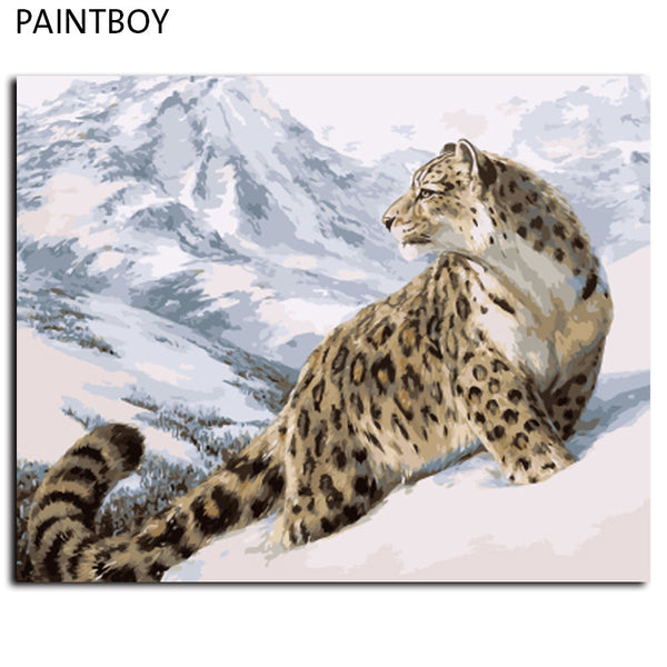 Leopard Wall Art  Frameless Pictures Painting By Numbers DIY Digital Oil Painting On Canvas Home Decor For Living Room