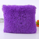 Solid Soft Plush Faux Fur Decorative Cushion Cover Throw Pillows For Sofa Car Chair Hotel Home Decoration
