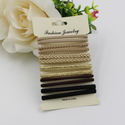 10pcs/pack Hair Tie Set  Women Fashion Hair Bands Hair Accessories Trendy Hairband For Women Elastic Sets Braid Elastic