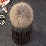 Xthree mink and fox fur ball cap pom poms winter hat for women hat knitted beanies cap thick female cap