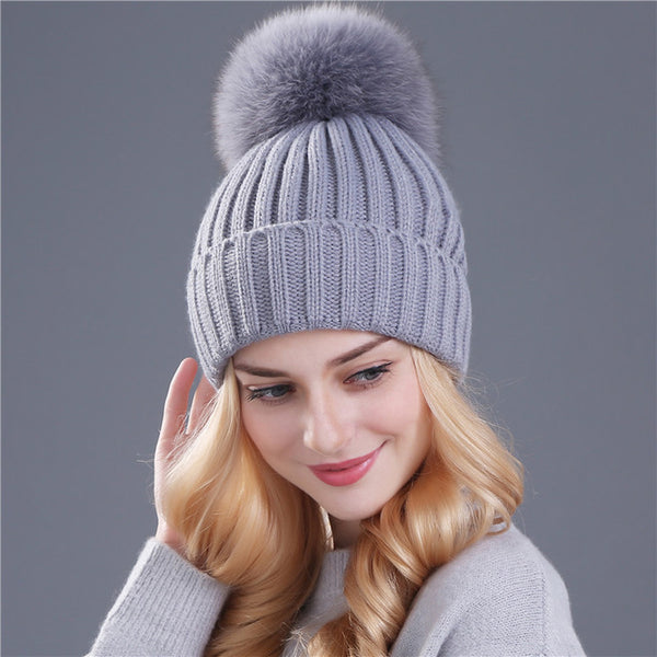 488c77572 Xthree mink and fox fur ball cap pom poms winter hat for women girl 's hat  knitted beanies cap brand new thick female cap
