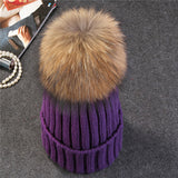 Xthree mink and fox fur ball cap pom poms winter hat for women girl 's hat knitted  beanies cap thick female cap