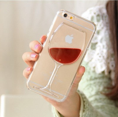 Hot Red Wine Glass Liquid Quicksand Transparent Phone Case Hard Back Cover For iPhone 4 4S 5 5S 5C 6 6S 7 Plus Housing