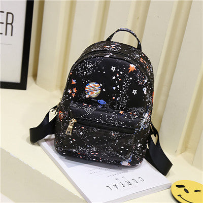Fashion Star Universe Space Printing Backpack Black School Bags For Teenage Girls Small Backpack Women Leather