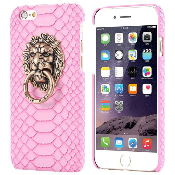 For iphone 7 Plus Cover Sexy Snake Skin Phone Case For Apple iPhone 6 6S For iphone 6 6S Plus 3D Lion Head Stand Cover Fundas