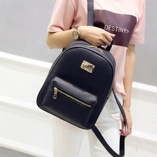 Women Backpack Small Size Black PU Leather Women's Backpacks Fashion School Girls Bags Female Back Pack Famous Brand
