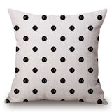 Pillow Case Black and White Pattern Pillowcase Cotton Linen Printed 18x18 Inches Geometry Euro Pillow Covers