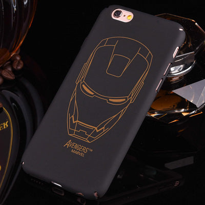 Black hard PC plastic Ultra-thin matte surface Batman, Ironman Phone Case Cover For Apple  iPhone 7 5 5S SE 6 6S 6 plus
