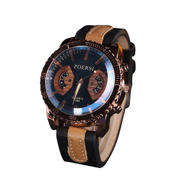 Luxury Men's Watches Analog Quartz Faux Leather Sport Wrist Dress Watch Men's Hours Clock