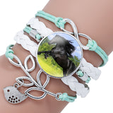 Trendy Black Rope White Horse Photo Glass Cabochon Leather Charm Bracelet For Women Handmade Heart Infinity Love Bracelets