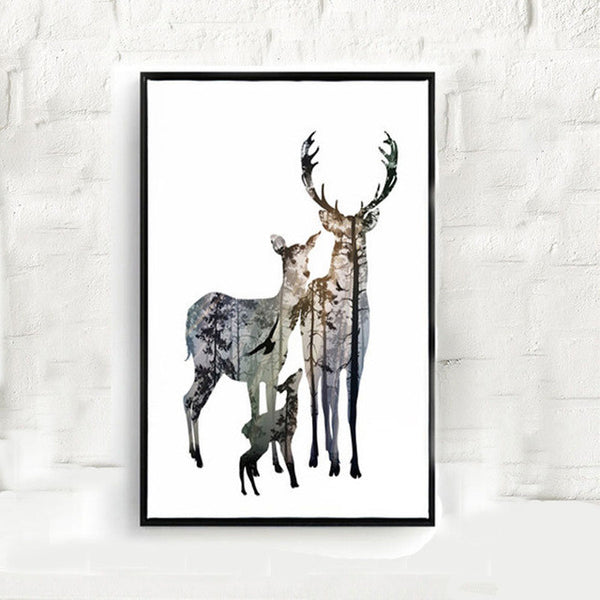 6 style Forest Deer Family Cartoon hild Room Art Print Poster Painting Living Room Animals Design Wall Picture Office Print