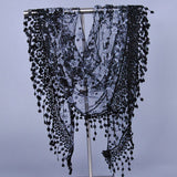 Summer Lady Lace Scarf Tassel Sheer Metallic Women Triangle Bandage Floral scarves Shawl