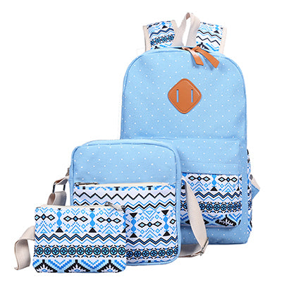 682d0f39ad8d ... 3 PC Set Stylish Canvas Printing Backpack Women School Bags for Teenage  Girls Cute Book ...