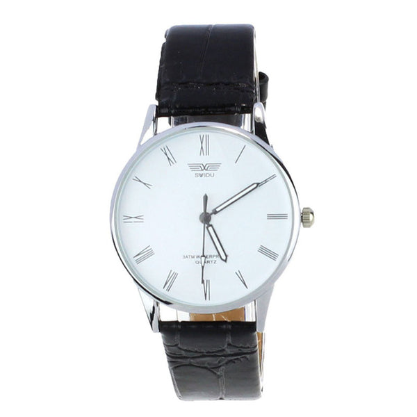 Top Brand Luxury Fashion Clock Classic Men's Watch Roman Number Hour Quartz Electronic Leather Wrist Watches