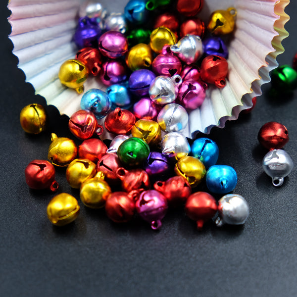 100PCS 10MM Jingle Bells Iron Loose Beads Small For Festival Party Decoration/Christmas Tree Decorations/DIY Crafts Accessories