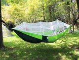 1-2 Person Outdoor Mosquito Net Parachute Hammock Camping Hanging Sleeping Bed Swing Portable Double Chair Hammock, Army Green