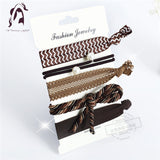 Trendy Summer Elastic Women Hair Accessories Tassel Hairband Jewelry Hand Band For Girls 5PCS/Pack Hair Tips Headwear Hair Bands