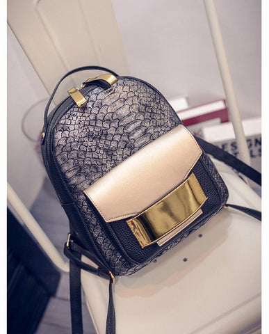 da964831d7d ... Snake PU Leather Women Backpack Female Fashion Rucksack Brand Designer  Ladies Back Bag High Quality School
