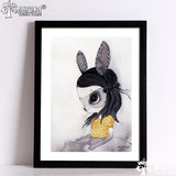 Nordic Rabbit Girl Canvas Art Wall Art Canvas Painting Wall Pictures For Living Room No Poster Frame