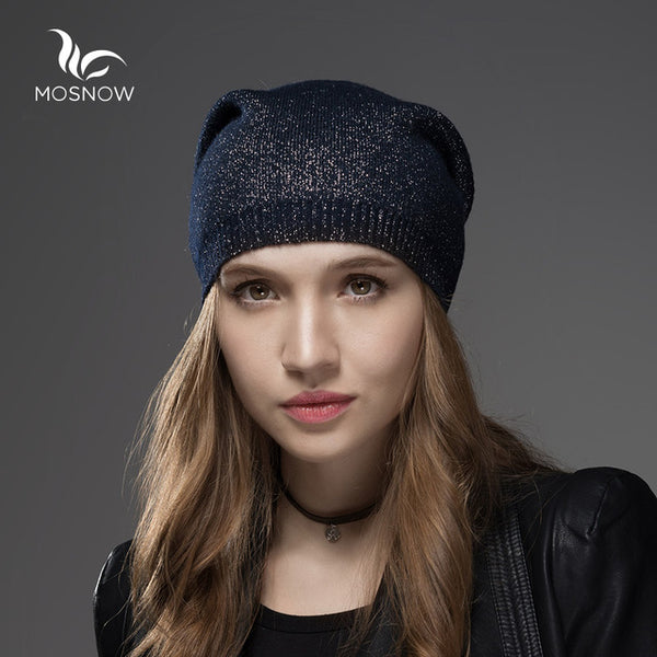 Mosnow Wool Cashmere Winter Hats  For Women High Quality Warm Women'S Brand Casual Knitted Vogue  Hat Female Skullies Beanies