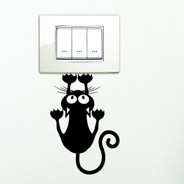 Black Cute Kitten Switch Sticker Bedroom Decorative Wall Stickers Vinyl Waterproof Stickers