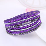 Leather Bracelet Rhinestone Crystal Bracelet Wrap Multilayer Bracelets for women Jewelry