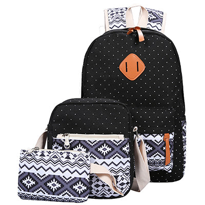 e3cc284bb1 Backpack Set Canvas Printing Backpack Women Cute Lightweight Book bags  Middle High School Bags for Teenage