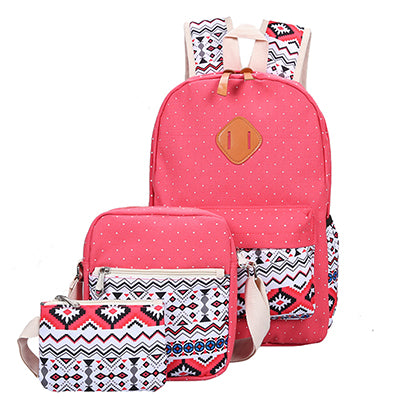 ... Backpack Set Canvas Printing Backpack Women Cute Lightweight Book bags  Middle High School Bags for Teenage ... 66663bca6da4a