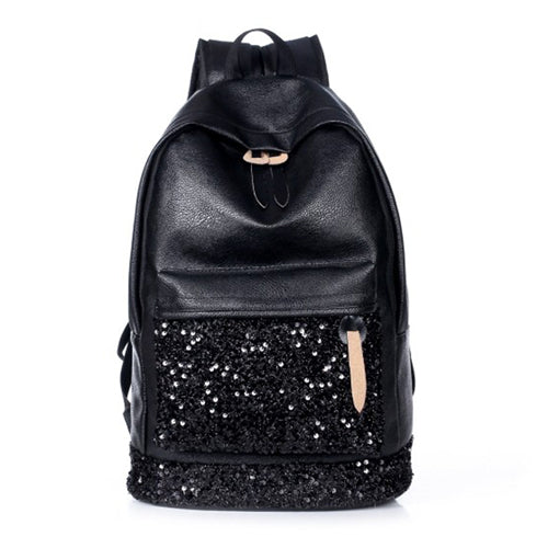Fashion Women Backpack Big Crown Embroidered Sequins Backpack Women Leather Backpacks High Quality Girls School Bags