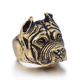 Mens Ring Punk Pitbull Bulldog Animal Silver Tone 316L Stainless Steel Ring Jewelry