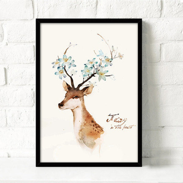 Modern Nordic Deer Cactus Rabbit Canvas Painting A4 No Framed Art Print Poster Animal Silhouette Wall Picture For Living Room