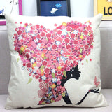 Flower Butterfly Girl Cushion Cover Cotton Linen Pillow Case Throw Wedding Decorative Pillowcase Cushion Covers