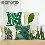 Tropical Plant Printed Cushion Cover Green Leaves Linen Pillow Cases Chair/Car/Sofa Pillow Cover Home Decorative Pillow