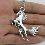 Women and Men Jewelry Vintage Silver Tone Running Horse Pendant Short Necklace