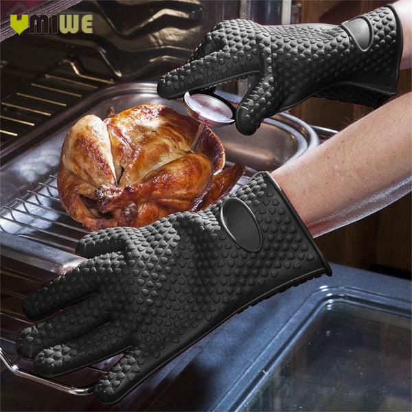 2 Pcs Heat Resistant Barbecue Gloves Thick Silicon Kitchen Barbecue Oven Cooking Glove BBQ Grill Glove Oven Mitts Baking Glove