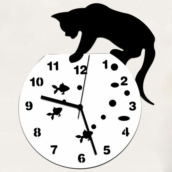 Mosunx Business Naughty Cat Acrylic Clock Wall Clock Modern Design Home Decor Watch Wall Sticker