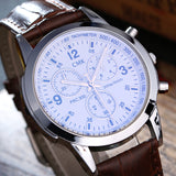 High quality brand men watches Casual fashion men's leather strap quartz watch outdoor sports blue wristwatches 3 color