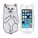 Soft Silicon Cat Case For iPhone 7 6 6s Plus 5 5s Cases 3D Cartoon Rubber Middle Finger Cover For iPhone 6 6s Coque