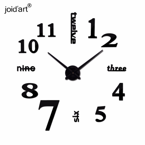Quartz clocks fashion watches 3d real big wall clock rushed mirror sticker diy modern design decor
