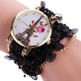 Women Dress Fashion Watch Duoya Flower Eiffel Tower Bracelet Quartz Wristwatch Clock Women Casual Vintage Luxury Sport Watch
