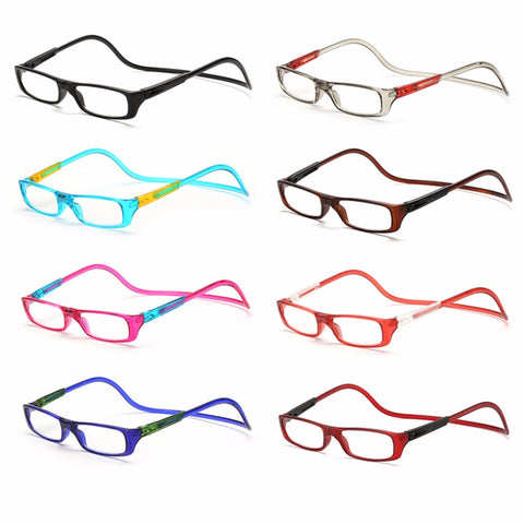 Upgraded Unisex Magnet Reading Glasses Men Women Colorful Adjustable Hanging Neck Magnetic Front presbyopic glasses