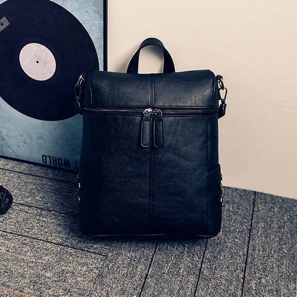 Simple Style Backpack Women PU Leather Backpacks For Teenage Girls School Bags Fashion Vintage Solid Shoulder Bag Pink