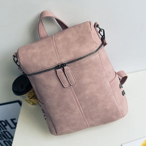 3395bd4f7fd2 ... Simple Style Backpack Women PU Leather Backpacks For Teenage Girls  School Bags Fashion Vintage Solid Shoulder ...