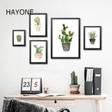 Nordic Watercolor succulent Green plant Canvas Art Print Poster, Cactus set Wall Paintings Modern Home Decor No Frame