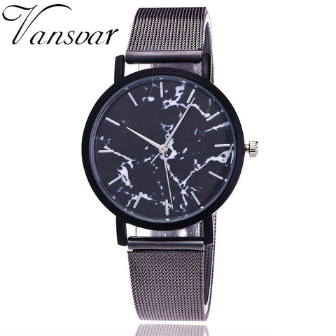 Vansvar  Silver And Gold Mesh Band Wristwatch Women Creative Marble Casual Quartz Watches