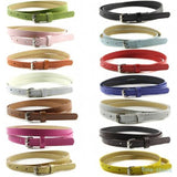 Multi Color Skinny Faux Leather Waistband Womens Ladies Casual Belt Strap