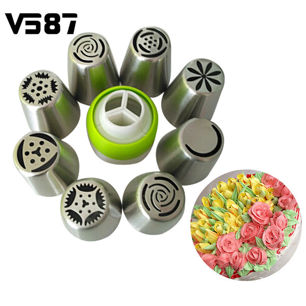 9Pcs/set Russian Tulip 8Pcs Icing Piping Nozzles + 1Pc Confectioner + 3Pcs Piping Bags Cake Decoration Decor Tips Tool