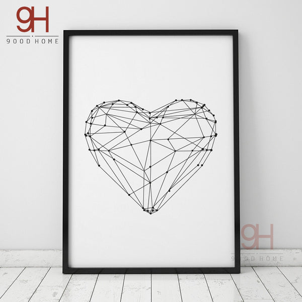 Geometric Heart Shape Canvas Art Print Painting Poster, Wall Pictures for Home Decoration, Wall Art Decor