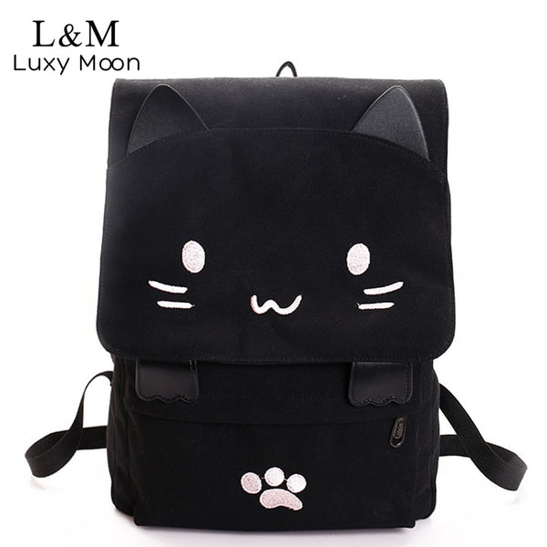 80e243afcdbe Cute Cat Canvas Backpack Cartoon Embroidery Backpacks For Teenage Girls  School Bag Casual Black Printing Rucksack